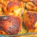 Запеченная курица с перловкой в духовке