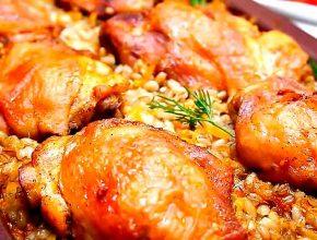 курица с перловкой в духовке на ужин