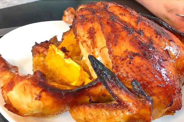 Курица с апельсинами в духовке, праздничный вариант целиком