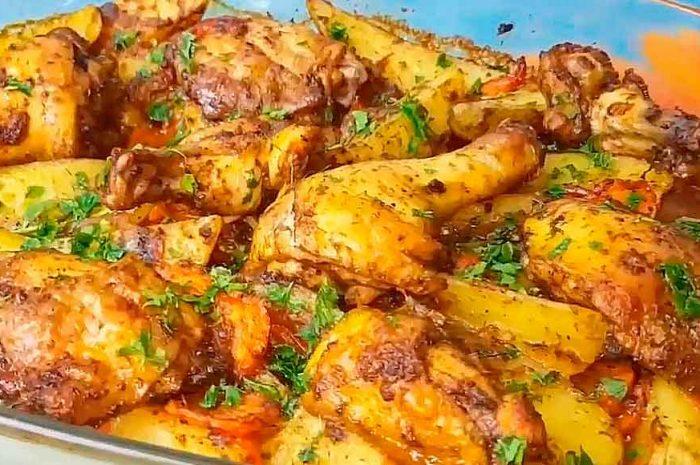 Курица в духовке с картошкой и овощами