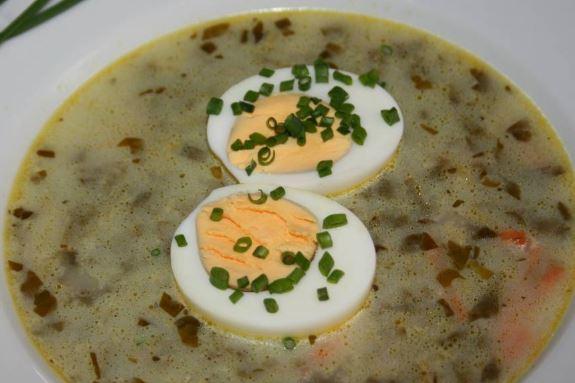 суп со щавелем и курицей