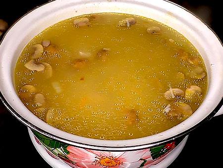 растворяем сыр в супе с курицей