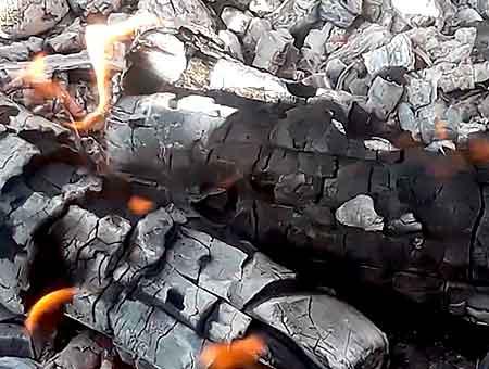жжем дрова в мангале