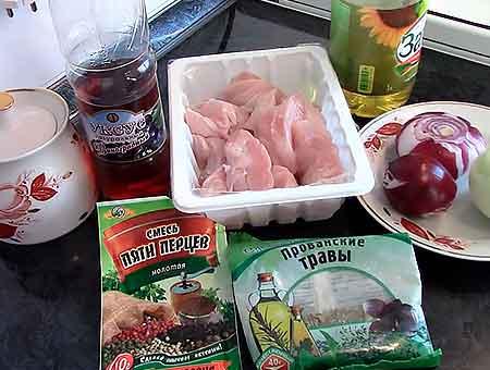 необходимые продукты для шашлыка из курицы