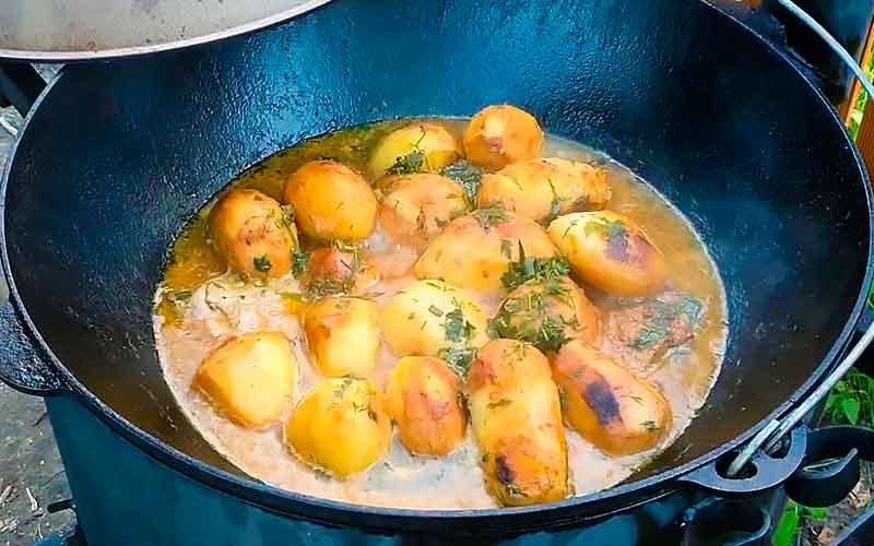 жаркое из курицы на костре с картошкой