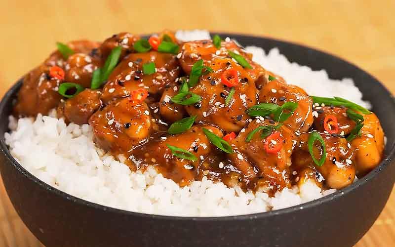 рецепт курицы терияки с рисом на сковороде