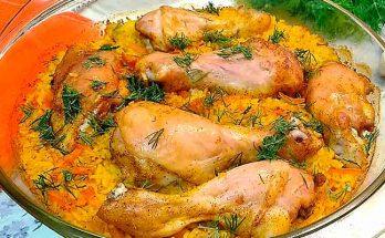 куриные ножки в духовке под рисом