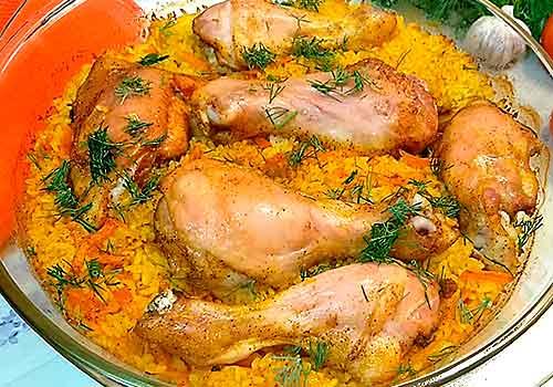 курица с рисом готова