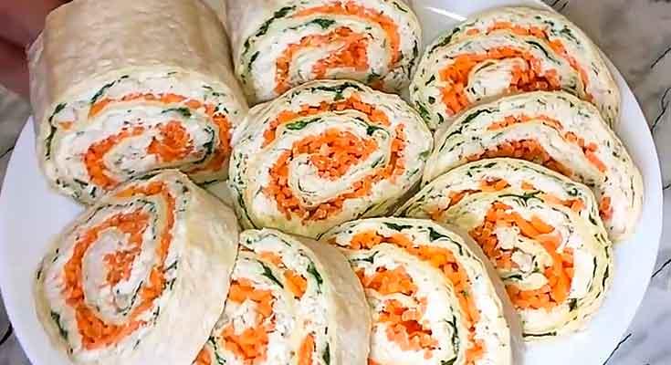 рулеты из лаваша и корейской морковки