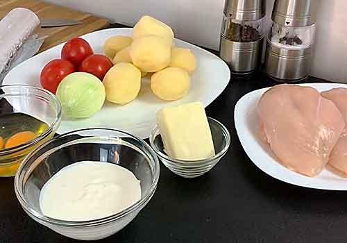 курица с картошкой и помидорами